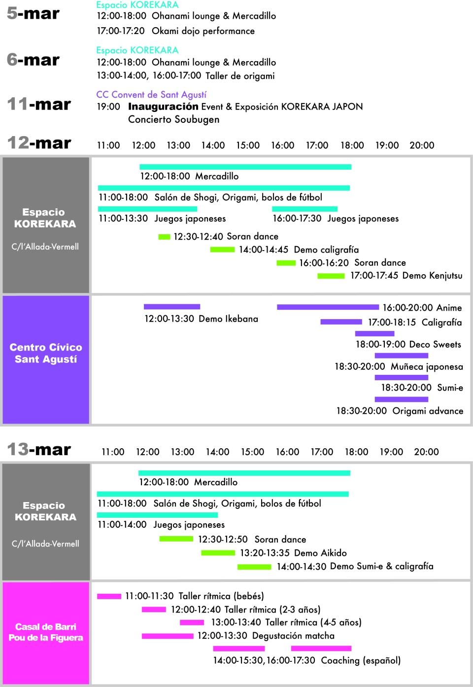 KOREKARA 2016 schedule